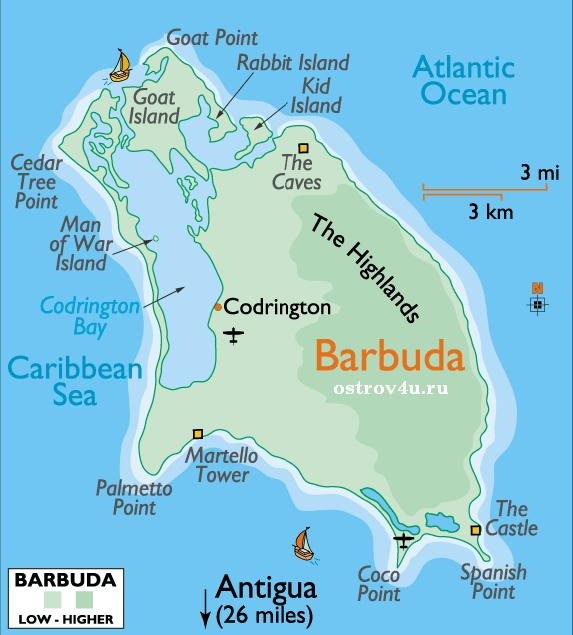 Карта Антигуа и Барбуда, map of Antigua and Barbuda
