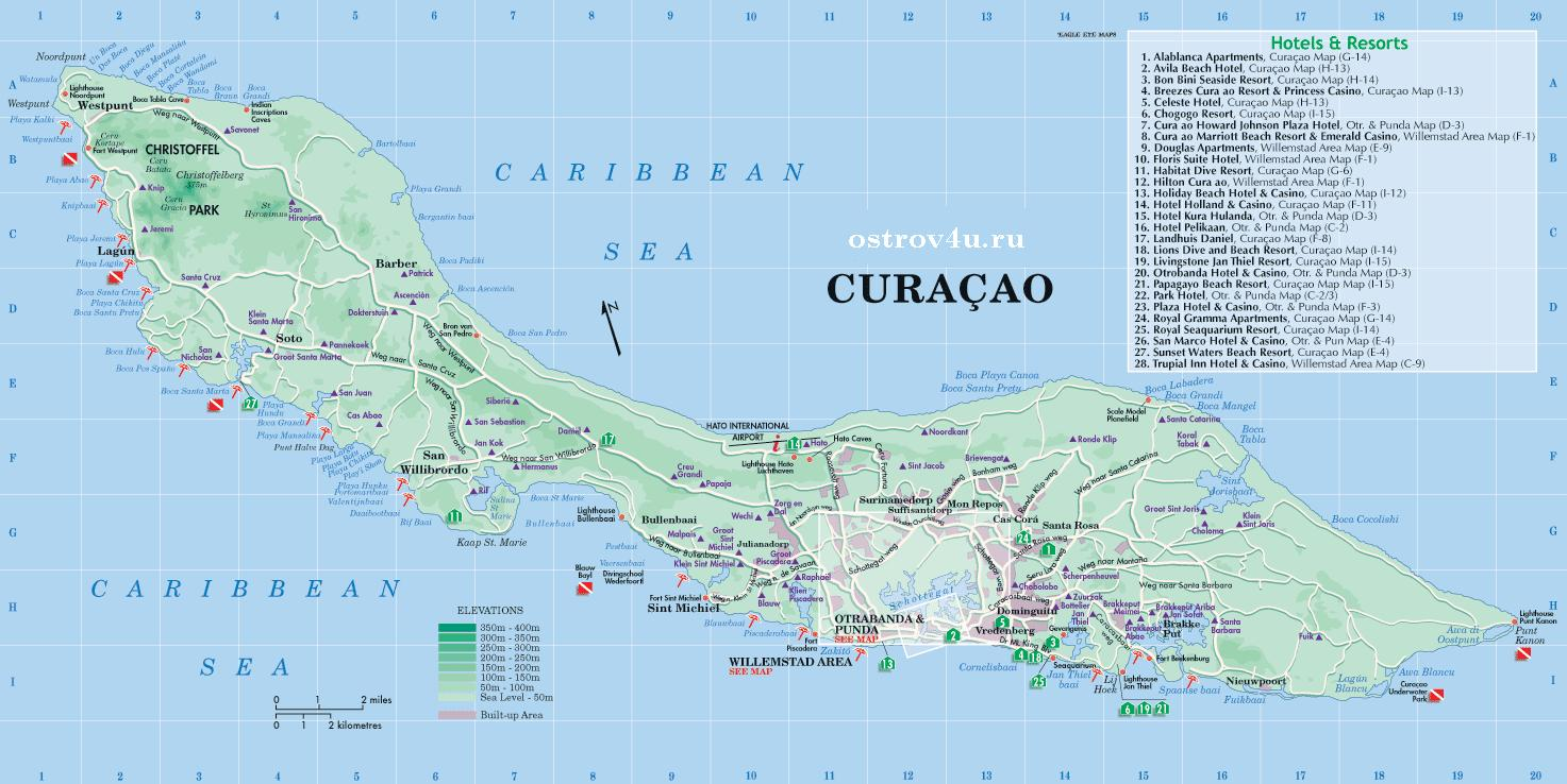 Карта Кюрасао, map of Curacao