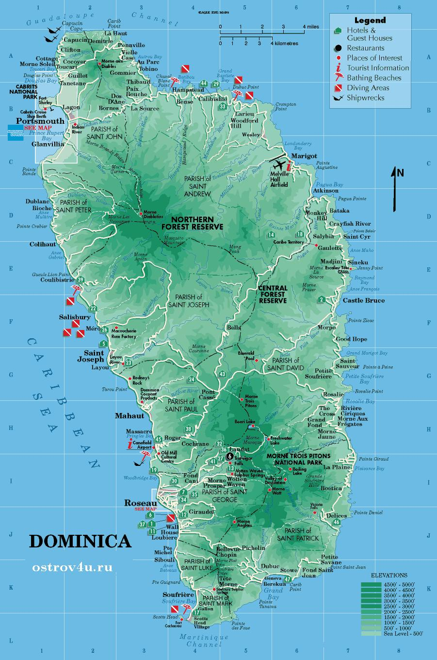 Карта Доминика,map of Dominica