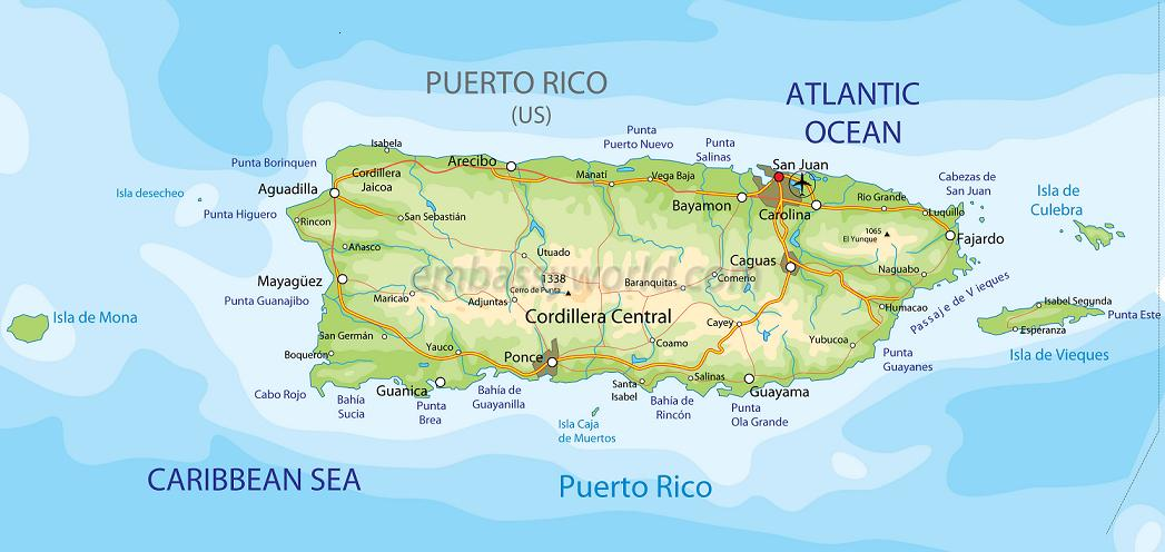 Пуэрто-Рико карта, map of Puerto Rico